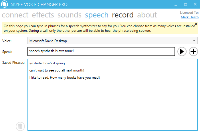 Screenshot: Speech screen